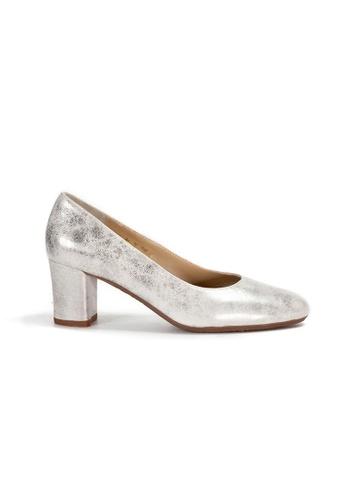 Shu Talk silver Classic Round Toe Comfortable Blocked Heels 8D089SH8F001FEGS_1