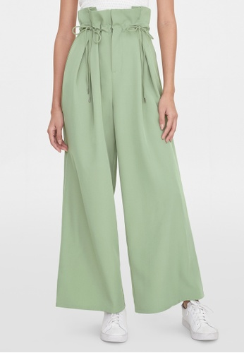 Pomelo green Pleated Paper Bag Pants - Green 22691AA74CD30DGS_1