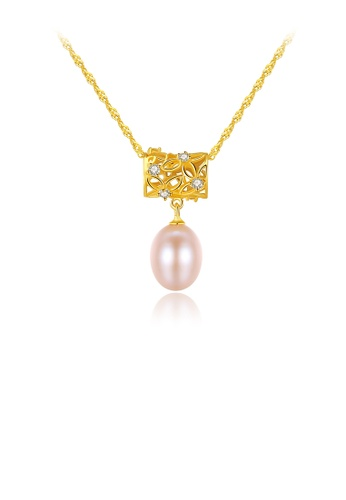 Glamorousky white 925 Sterling Silver Plated Gold Elegant Hollow Pattern Pendant with Pink Freshwater Pearls and Necklace FA1C3AC99DA2E8GS_1