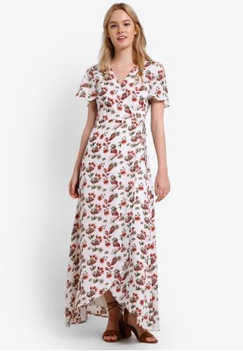Something Borrowed white Slit Sleeve Wrap Maxi Dress 491CAAA2368313GS_1