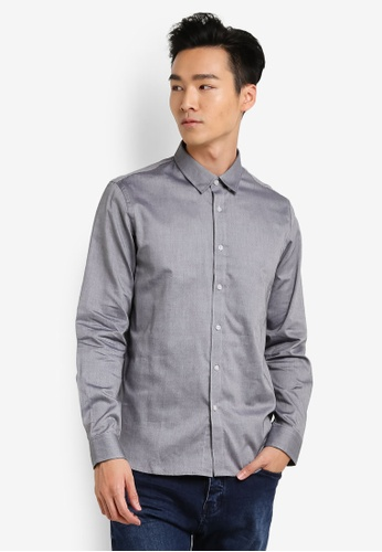 CR7 grey Tailored Spec 3 Progressive Rigid Casual Shirt CR532AA62EGFMY_1
