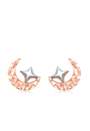 CHOW TAI FOOK Jewellery white CHOW TAI FOOK 18K 750 White Rose Gold Earring -  Moon and Star Karat Gold E122871 2AF0FAC6815FEBGS_1