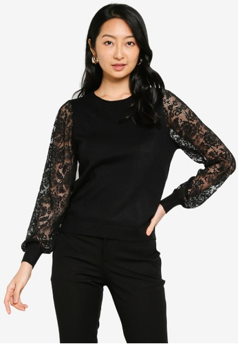 ONLY black Vicky Lace Pullover B4F9BAA9AE6966GS_1