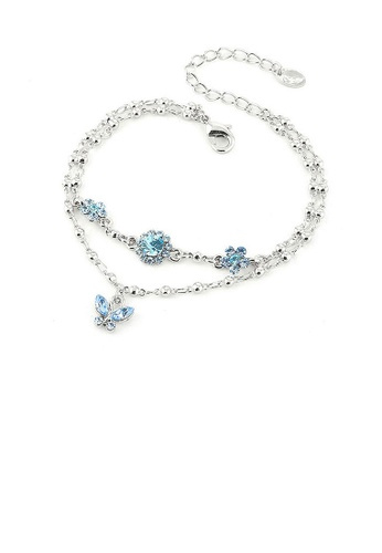Glamorousky blue Two Layered Flower Bracelet with Butterfly Charm and Blue Austrian Element Crystals 362A8ACCDA108CGS_1