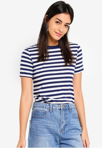 TOPSHOP navy Petite Stripe T-Shirt D6793AA4D4365DGS_1
