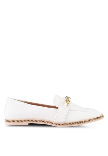 Something Borrowed white Loafers With Chain Details BF6CDSH359598EGS_1
