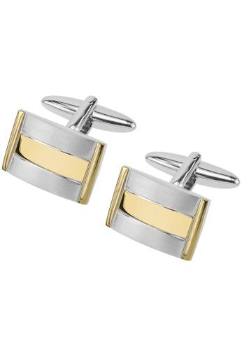 CUFF IT gold Gold and Brushed Silver Metal Cufflinks CU047AC38WRHHK_1