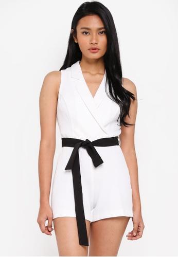f3a5f772d3b Buy Miss Selfridge Petite Ivory Tie Tuxedo Playsuit