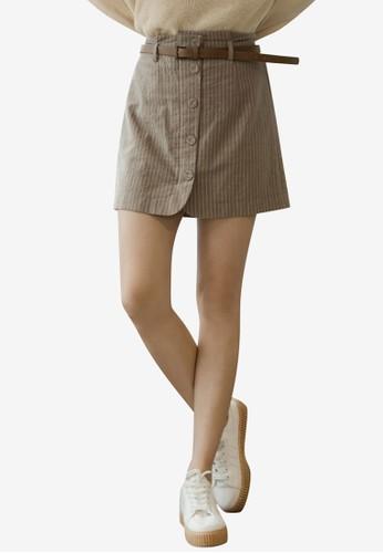 Tokichoi brown Striped Bottom Skirt 1AE8BAA6B547E4GS_1