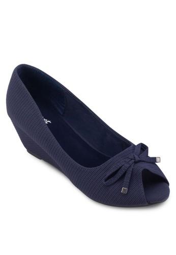 蝴蝶結露趾楔型鞋, 女鞋,esprit au 魚口楔形鞋
