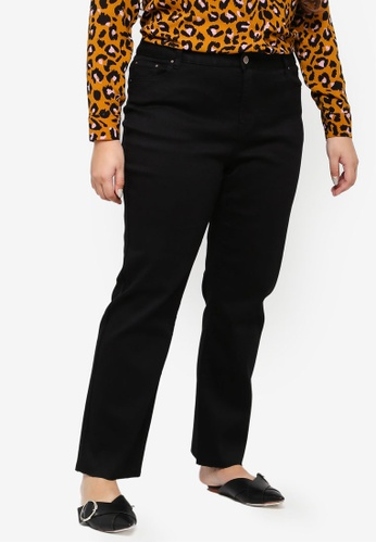 LOST INK PLUS black Plus Size Straight Leg Raw Pants E2CA7AAC296045GS_1