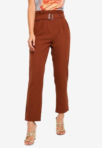 ONLY 褐色 Rinna 腰帶褲 D1822AA7CAAF02GS_1