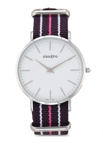 Massa Collections multi Grace Female White Silver w/ Purple Pink Nato Quartz Watch F6522ACA5D4AB0GS_1