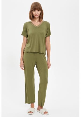 DeFacto green Woman 2-pieces Homewear Top & Bottom Set 5999EAA1ACBF3AGS_1