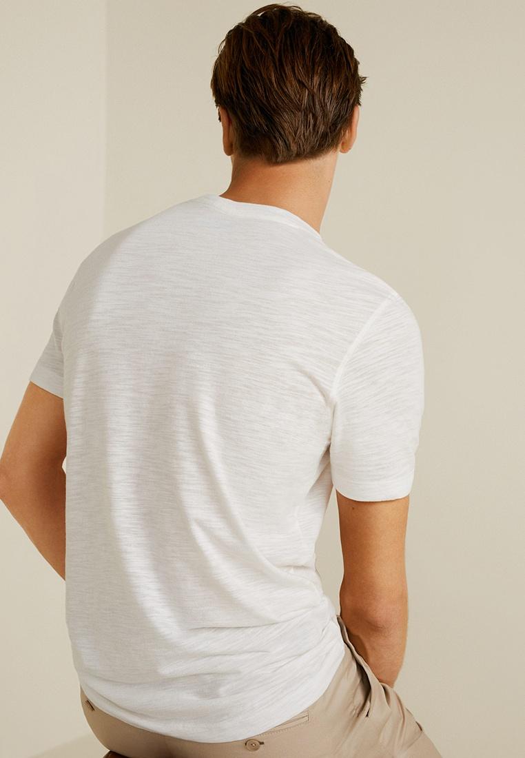 MANGO Man Flecked Shirt T White Henley Natural twrI6rq
