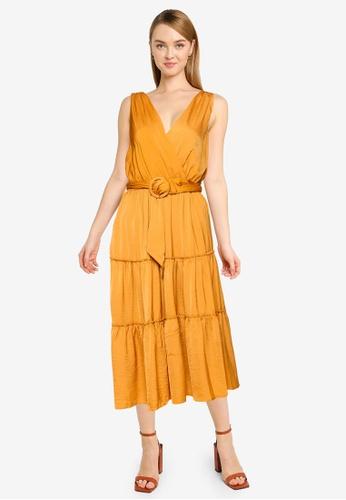 FORCAST yellow Eliza Belted Midi Dress B2852AA6FCD97CGS_1