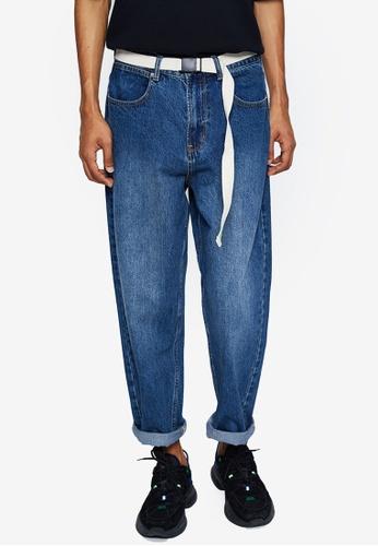 URBAN REVIVO blue Belted Denim Jeans 3DFBDAAA445F4BGS_1