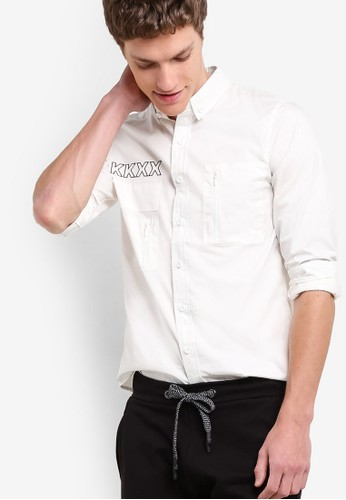 Slim Fit Shirt With Wording, 服飾, 印花zalora鞋襯衫