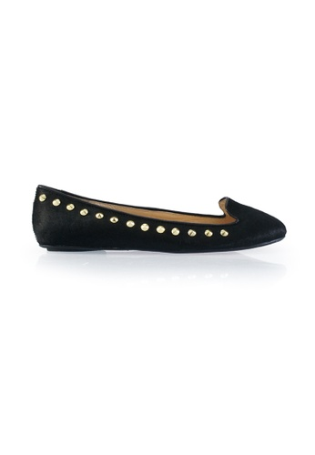 Gripz black Studsy Pony Hair Slip On Studded Flats 23C31SH220F938GS_1