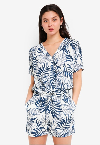 ICHI blue and navy Bitso Jumpsuit 73A9FAA7682920GS_1
