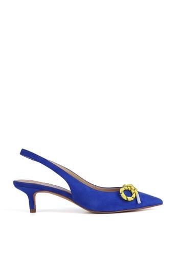 Miomia 藍色 蝴蝶結露跟高跟鞋 FD5B0SH4D618AAGS_1
