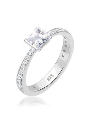 Elli Germany white Perhiasan Wanita Perak Asli - Silver Cincin Solitaire Zirconia 993FAAC5AF5B86GS_1
