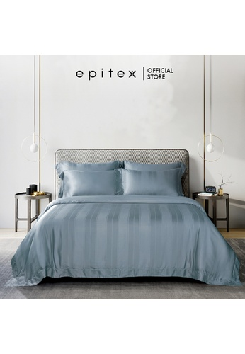Epitex blue Epitex Aqualine Collection AQ3311 1600TC Dobby Bedsheet - Fitted (w/o quilt cover) - (Mystery Blue) 2B7BFHLE498AF5GS_1