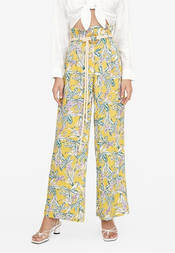 Pomelo yellow Rope Belt Paperbag Floral Pants - Yellow A47FAAAEED6282GS_1