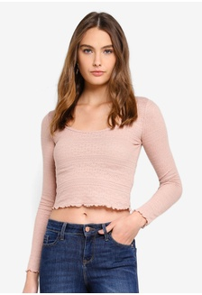 a5b96e106e79b0 Buy Miss Selfridge Black Long Sleeve Jumbo Rib Bardot Top Online ...