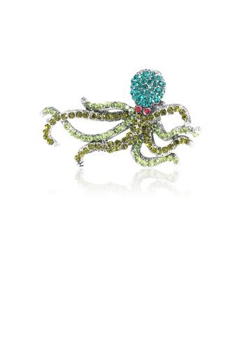 Glamorousky green Fashion Bright Octopus Brooch with Cubic Zirconia B3EB5AC97AAB8FGS_1