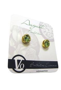 Peridot Round Studded Birthstone Earrings