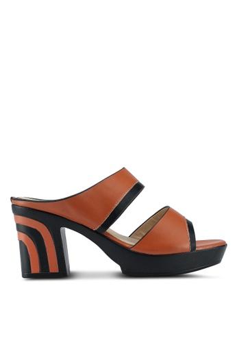 Noveni 褐色 雙色帶粗跟鞋 7394ASH18189C2GS_1