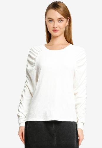 Vero Moda white Sie Long Sleeve Gather Top E4B4CAAFC9B033GS_1