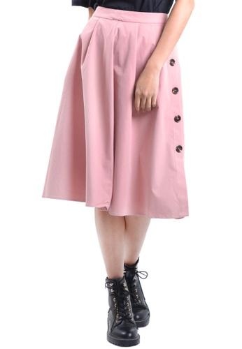 Kitschen pink A-Line Button Flare Skirt 6A053AA604986BGS_1