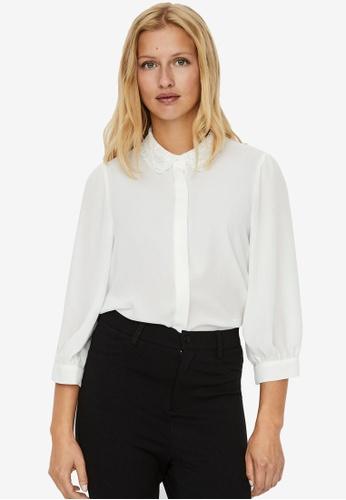 Vero Moda white Dorthe 3/4 Shirt AF1C2AA674A152GS_1