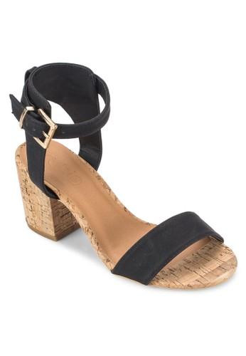 Domain 木製低粗跟涼鞋, esprit台灣outlet女鞋, 鞋
