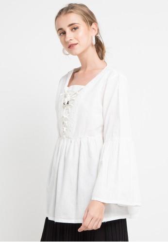 SIMPLICITY white Flare Blouse 1CE87AAC73E5D4GS_1