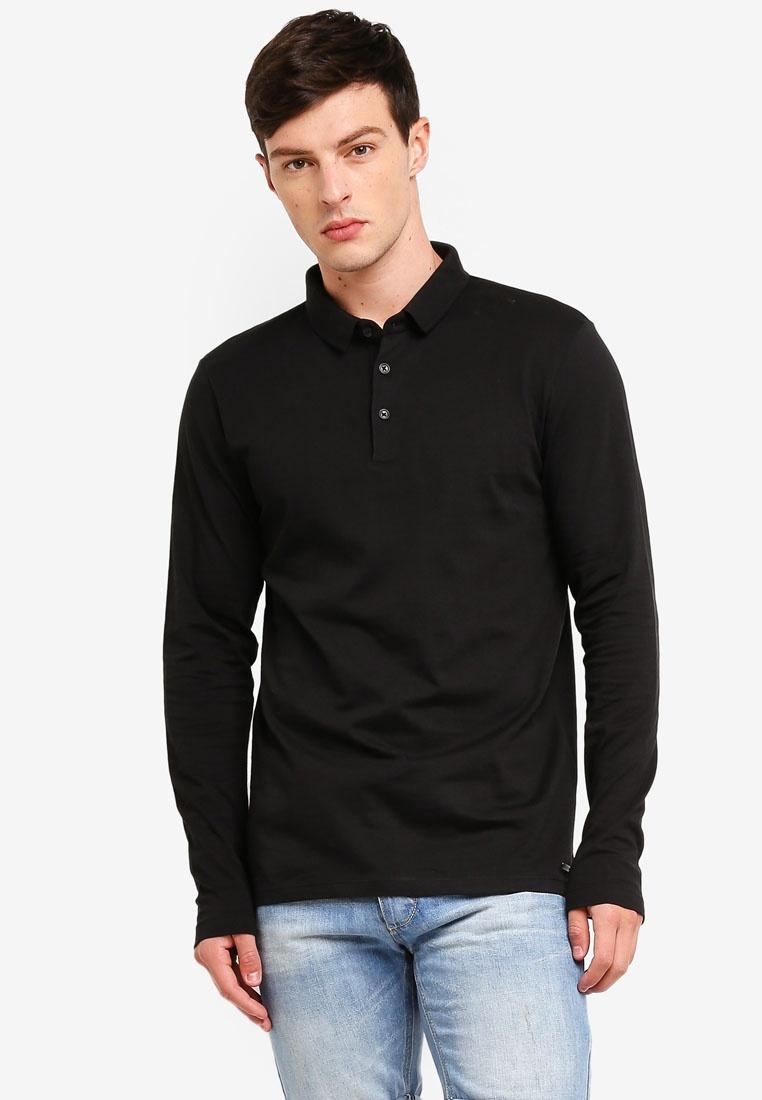 Black ESPRIT Long Shirt Sleeve Polo zxx0Ivw