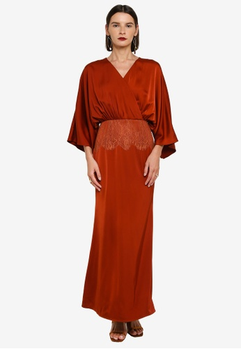 Zalia 褐色 Wrap Dress With Lace Detail F1095AAF71C7EDGS_1