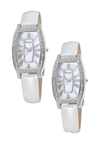 Eyki white and silver Bundle 2 Units Eyki Kimio KW516 Retro Style Ladies Leather Strap Rhinestone Silver White EY078AC0RRKGMY_1