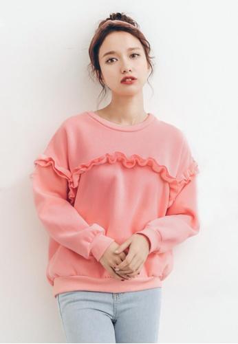 Shopsfashion pink Ruffles Pullover in Pink SH656AA0G0XOSG_1