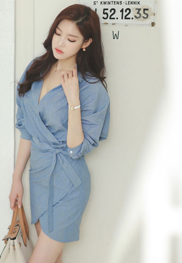 Mid Wrapped Dress A083117 Blue 2017 W F Sunnydaysweety Sleeves Mini Blue qfHgan