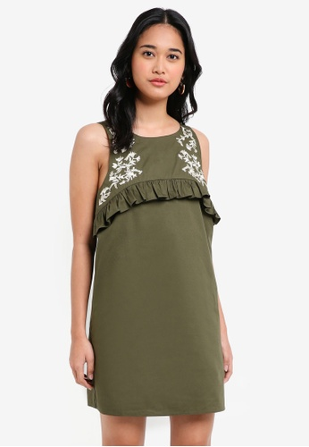 Something Borrowed green Embroidered Ruffle Dress CE280AA51C591AGS_1