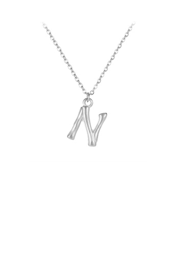 Glamorousky silver Fashion Simple English Alphabet N 316L Stainless Steel Pendant with Necklace EA7D6AC5837C09GS_1