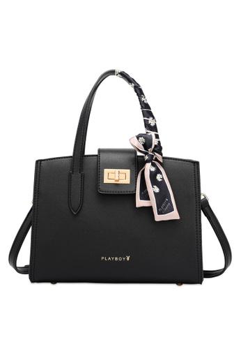 PLAYBOY BUNNY 黑色 Top Handle Sling Bag with Scarf B7189AC8AC3C30GS_1