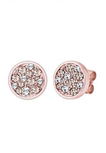 Elli Germany gold Perhiasan Wanita Perak Asli - Silver Anting Stud Round Sparkling Rosegold Plated EL948AC53LSSID_1