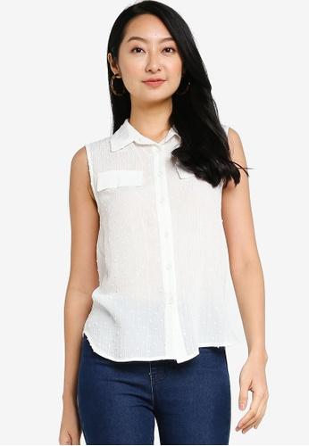 ZALORA BASICS white Sleeveless Shirt E1074AADC94B9CGS_1