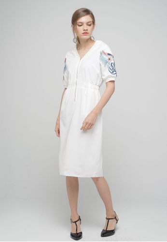 Megane white Red Romance Hedvige Embroided Sequin Zipper Dress 9030DAAD4D49F1GS_1