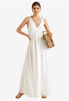637f51ee431 Mango white Embroidered Long Dress FAB01AAD87FCCFGS 1