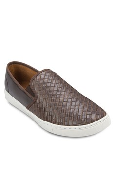 Faux Weave Leather Slip On Sneaker